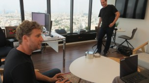SimilarWeb CEO Or Offer in his Tel Aviv office with Moshe Alexenberg, director of Digital Insights. Photo by Julie Bort/Business Insider