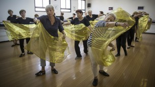 A dance class for 60-90-year-old women  at a community center in Jerusalem. Photo by Hadas Parush/Flash90