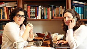 Naomi Brounstein, left, and Vivi Mann working on Ten Gav. Photo by Hindy Lederman
