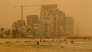 The Tel Aviv beach seen through the sand storm that hit Israel on September 8, 2015. Photo by Miriam AlsterFLASH90