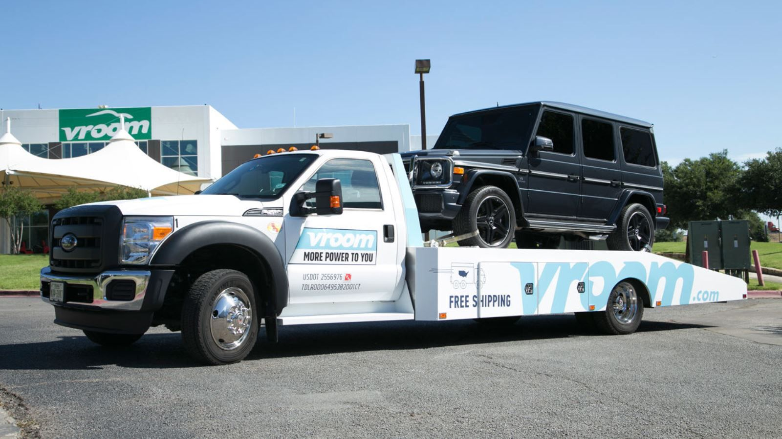 A Vroom car carrier delivering a vehicle. Photo: courtesy