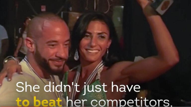 Anoush Aram Sarkis Belian, Arab-Armenian-Christian female bodybuilder. Photo: Screen capture from YouTube