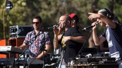 Hadag Nahash band performing live at a street party held in a park in Jerusalem. Photo by Yonatan Sindel/Flash90