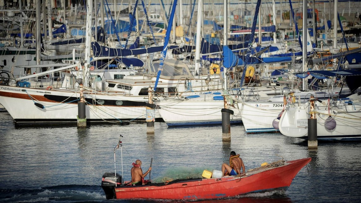 Boats docked at the port in the southern city of Ashkelon. Photo by Mendy Hechtman/Flash90.