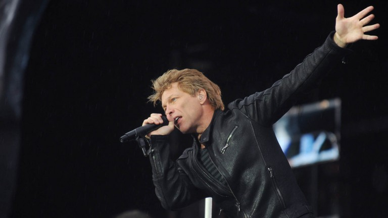 American singer Jon Bon Jovi of Bon Jovi rock band during a performance in Prague (2013). Photo by Shutterstock.com