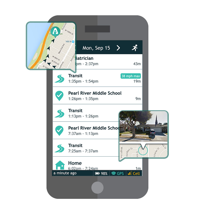 AngelSense users can see a full schedule of their child's daily route on their phone, in a simple diary format. Photo: courtesy