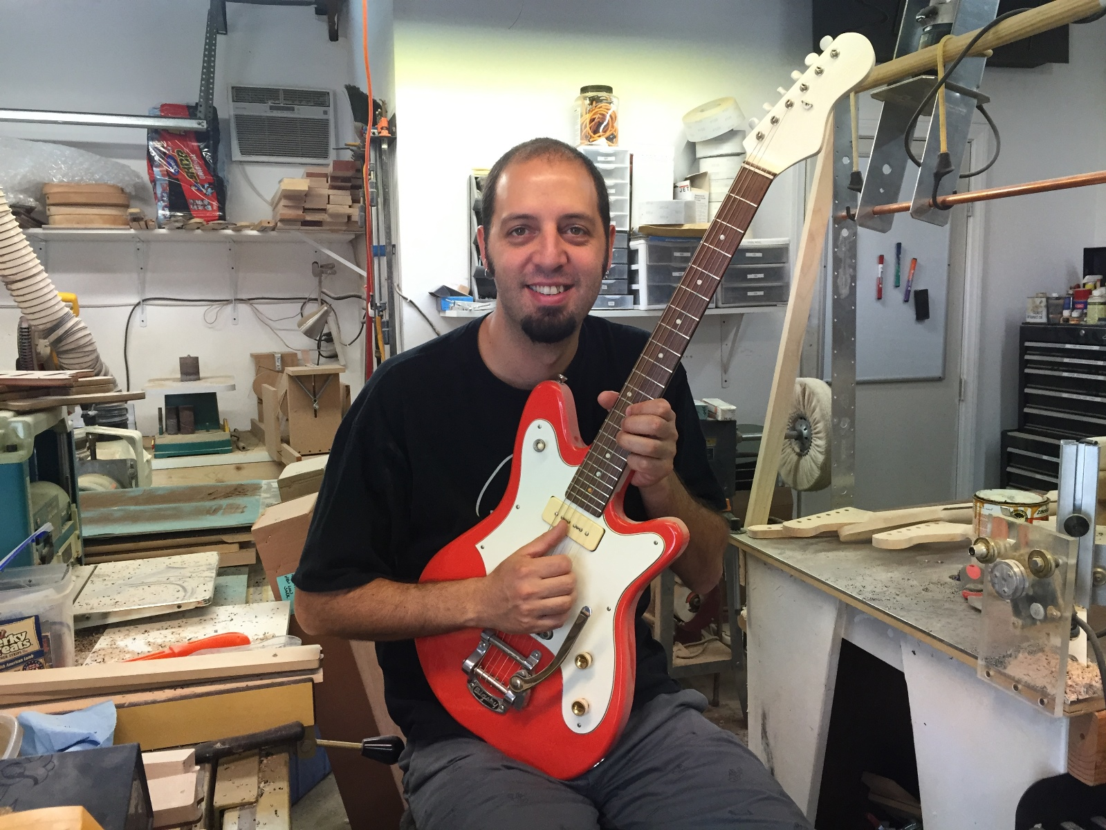 Avishay Shabat at work in his studio. Photo by Stacey Shabat