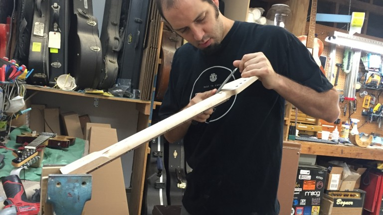 Avishay Shabat in his workshop. Photo by Stacey Shabat