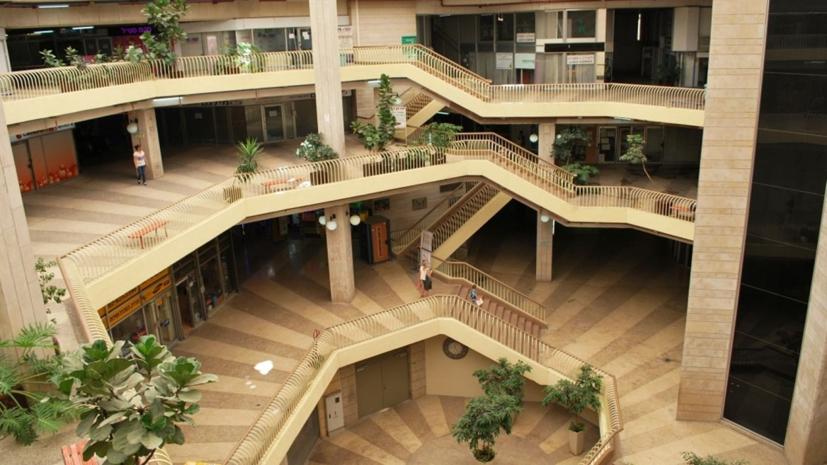 The refurbished 1970s Clal Building – meant to be Jerusalem's first indoor shopping mall, but never a favorite of the public – is the subject of one of the tours. Photo by Ben Bornstein