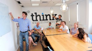 Entrepreneurs brainstorming in The Library, a municipal coworking space. Photo courtesy of the Tel Aviv municipality