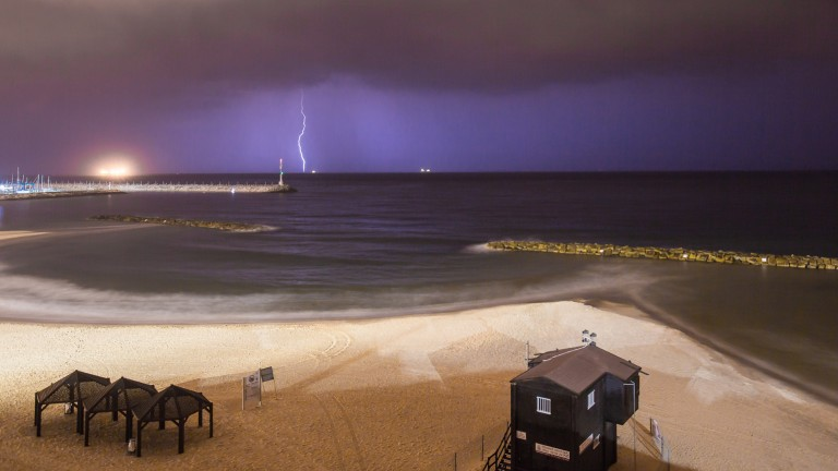 Lightning strike during a storm in Ashkelon on October 28, 2015. Photo by Edi Israel/Flash90