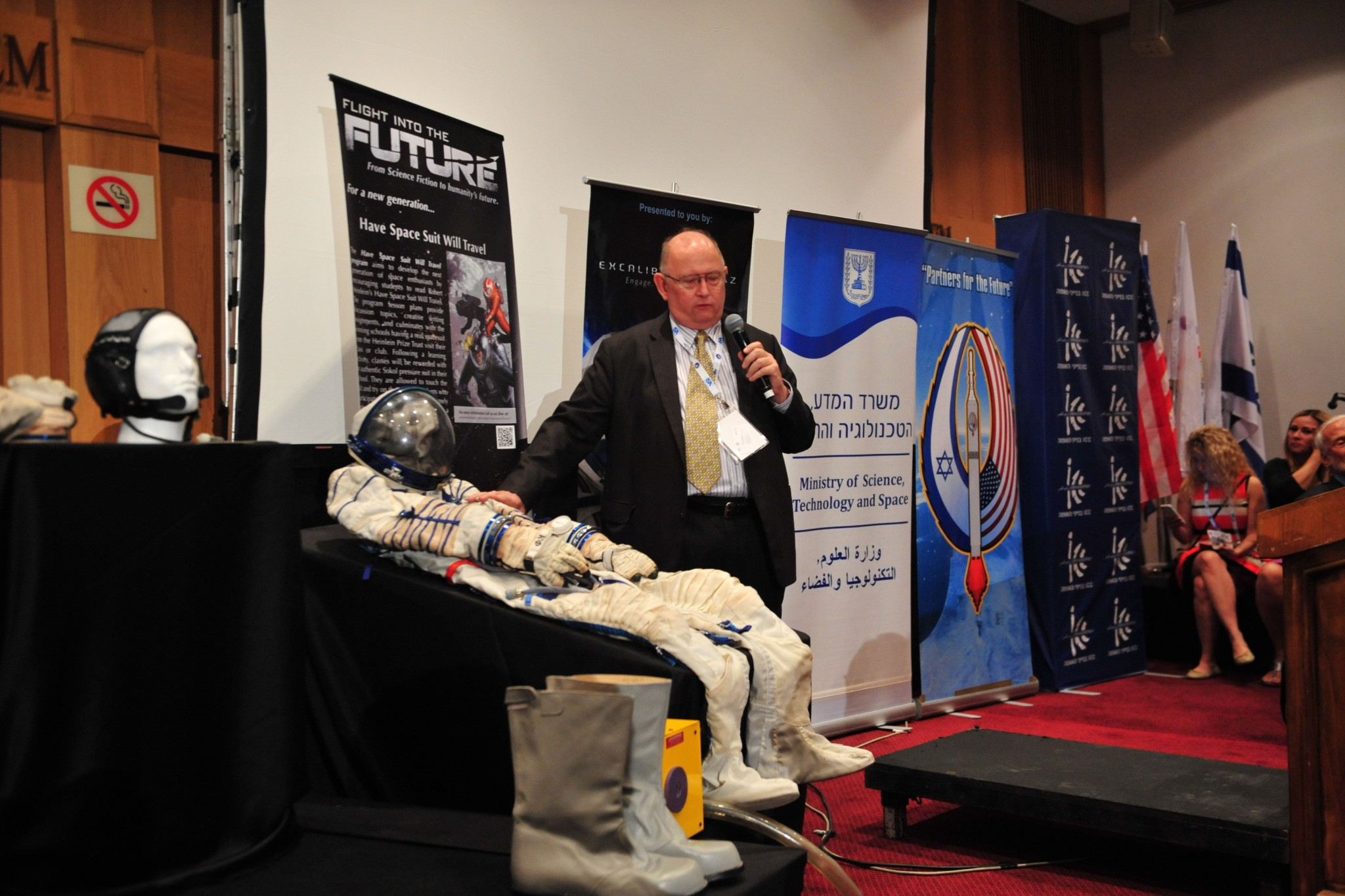 A new space suit at the International Astronautical Congress in Jerusalem.