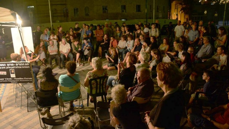 The Parents Circle staged a Peace Square in Jaffa where Arabs and Jews can meet, talk and share their feelings. Photo via Facebook