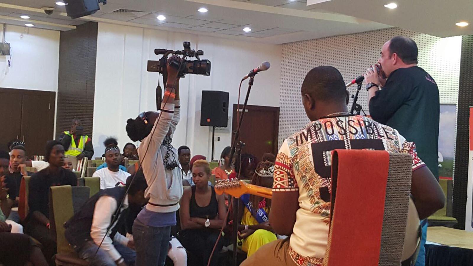 Gilad Millo performing with Tim Tim in Nairobi. Photo via Facebook