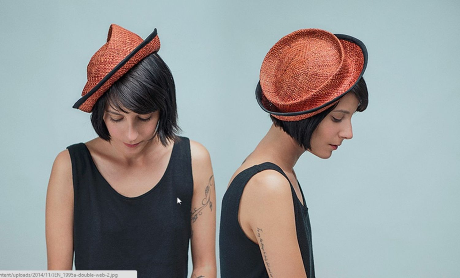 A design mistake led Cohen to an experimental hat of seagrass straw. Photo by Jennie Barst