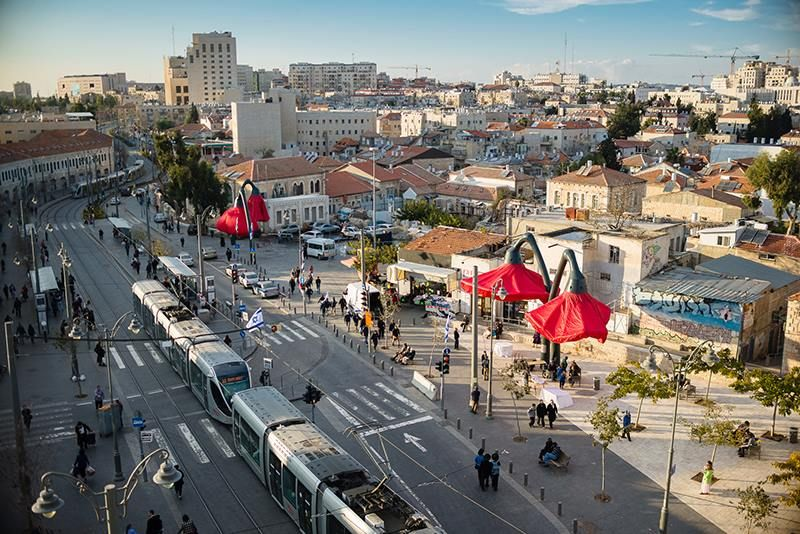 The installation adds a splash of color to the capital city's Machane Yehuda marketplace area. Photo courtesy of HQ Architects