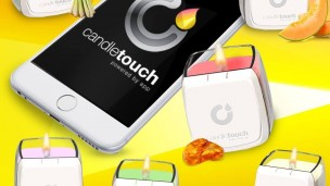A real candle lit by an app-controlled flame. Photo courtesy of Candle Touch