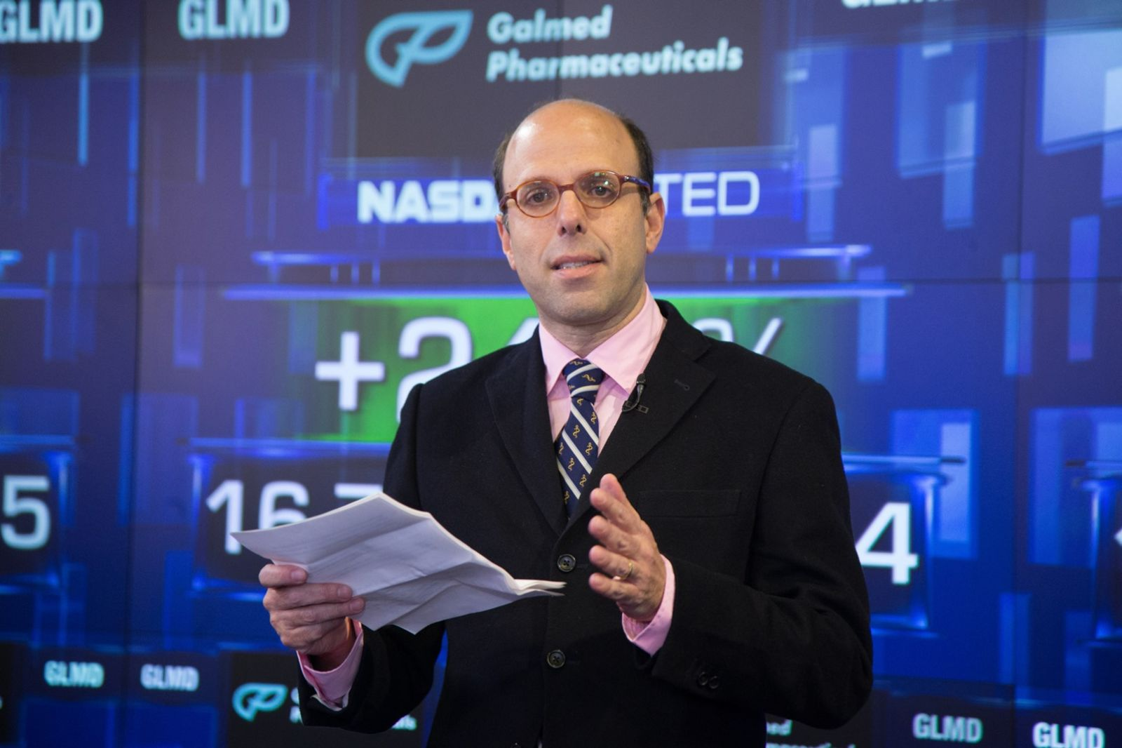 Galmed founder and CEO Allen Baharaff at NASDAQ on the day Galmed went public. Photo courtesy of NASDAQ