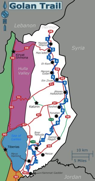 Map of the Golan Trail. Image: courtesy