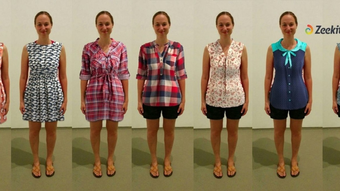 Yael Vizel having fun with her Zeekit virtual fitting-room technology. Photo: courtesy