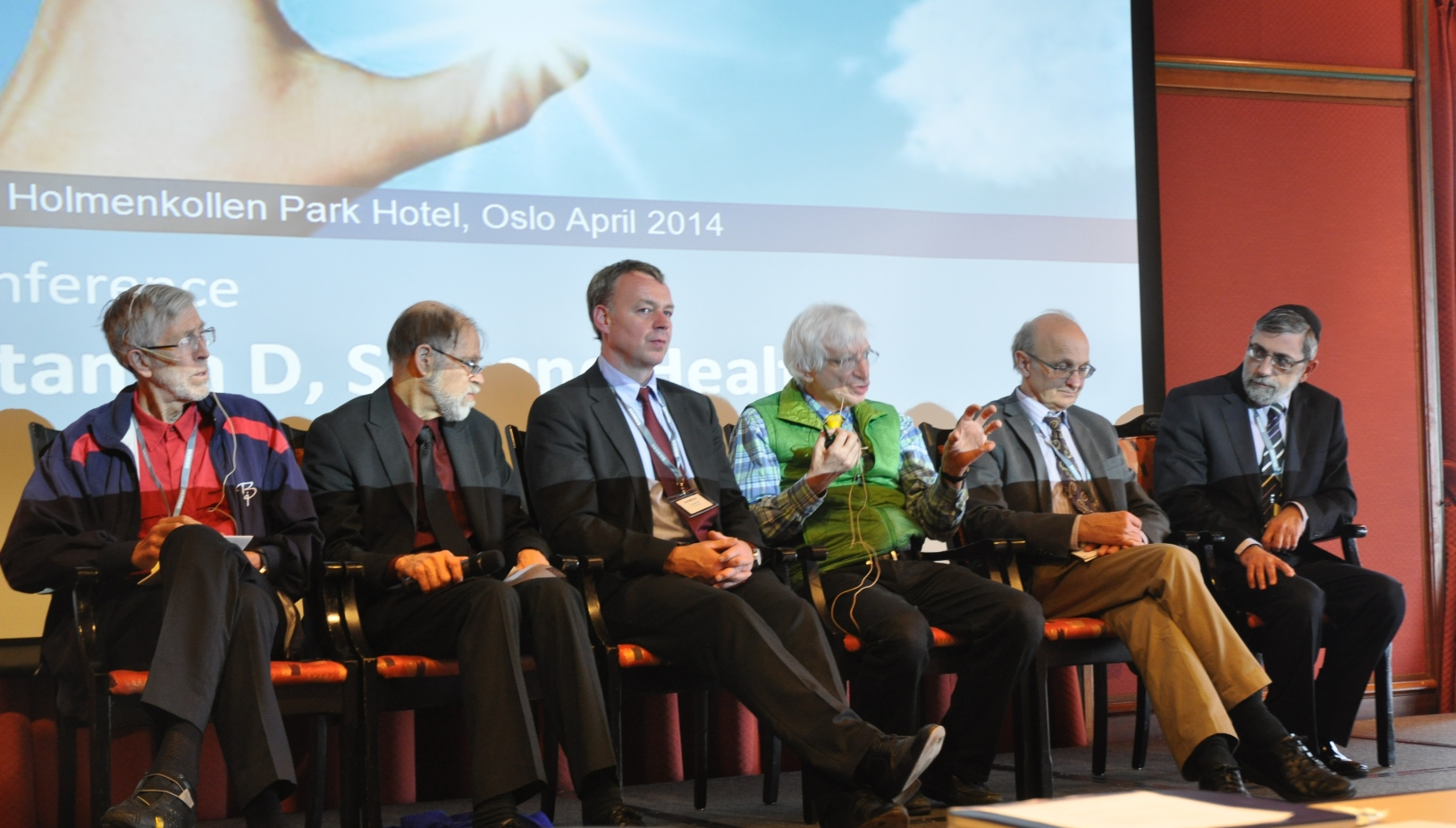 The panel of experts at last year's conference on Vitamin D in Oslo included, from left, Prof. Johan Moan (Norway), Prof. Reinhold Vieth (Canada), Prof. Jorg Reichrath (Germany), Prof. Michael F. Holick (USA), Prof. William B. Grant (USA) and Dr. Marco Harari (Israel). Photo: courtesy of DMZ Medical Center