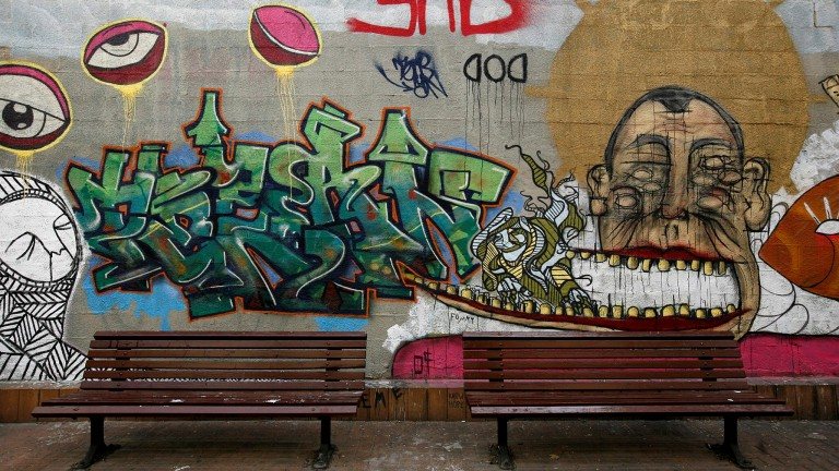 Graffiti on the wall in Florentin. Photo by Miriam Alster/Flash90