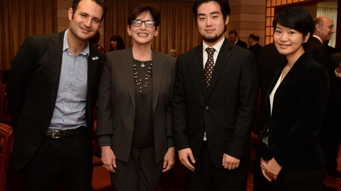 From left, IsraAID Global Emergencies Director Yotam Polizer, ISRAEL21c President Amy Friedkin, Japan IsraAID Support Program Board Director Kensho Tambara and Wakako Yamazaki, program coordinator for the Japan IsraAID Support Program. Photo: courtesy