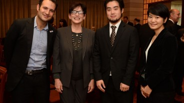 From left, IsraAID Global Emergencies Director Yotam Polizer, ISRAEL21c President Amy Friedkin, Japan IsraAID Support Program Board Director Kensho Tambara and Wakako Yamazaki, program coordinator for the Japan IsraAID Support Program. Photo: courtesy