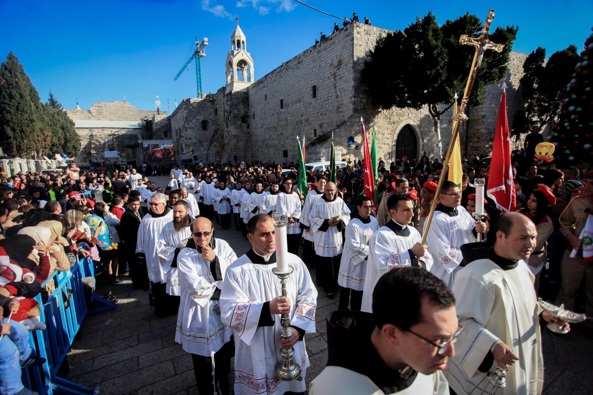 Catholic clergymen outside the Church of the Nativity in Bethlehem. Photo by FLASH90