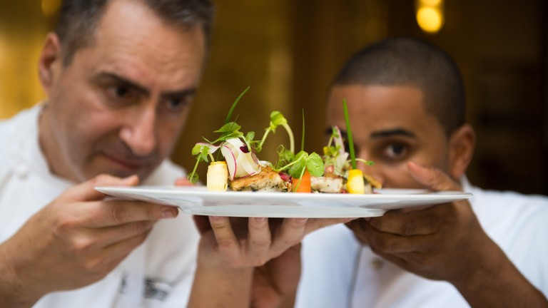 Chefs Itzik Barak (Waldorf Jerusalem) and Joseph Johnson (The Cecil, New York) used Israeli culinary inspirations to create this Seven Species dish for the Taste of Waldorf Astoria contest. Photo by Sarka Babicka