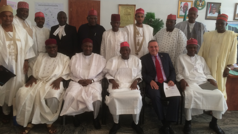 Galilee International Management Institute President Joseph Shevel with ministers of the Kano government following the signing of an agreement to train farmers in the Nigerian state. Photo courtesy of GIMI