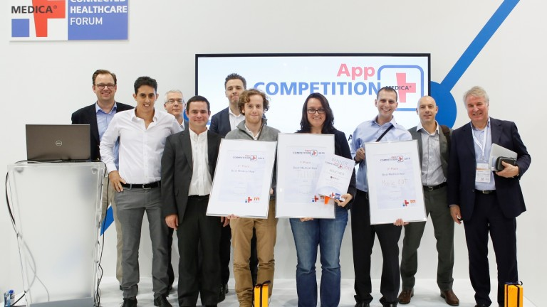 Photo of Medica medical app competition 2015 finalists courtesy of Messe Duesseldorf. Talkitt marketing adviser Maren Lesche is in the middle.