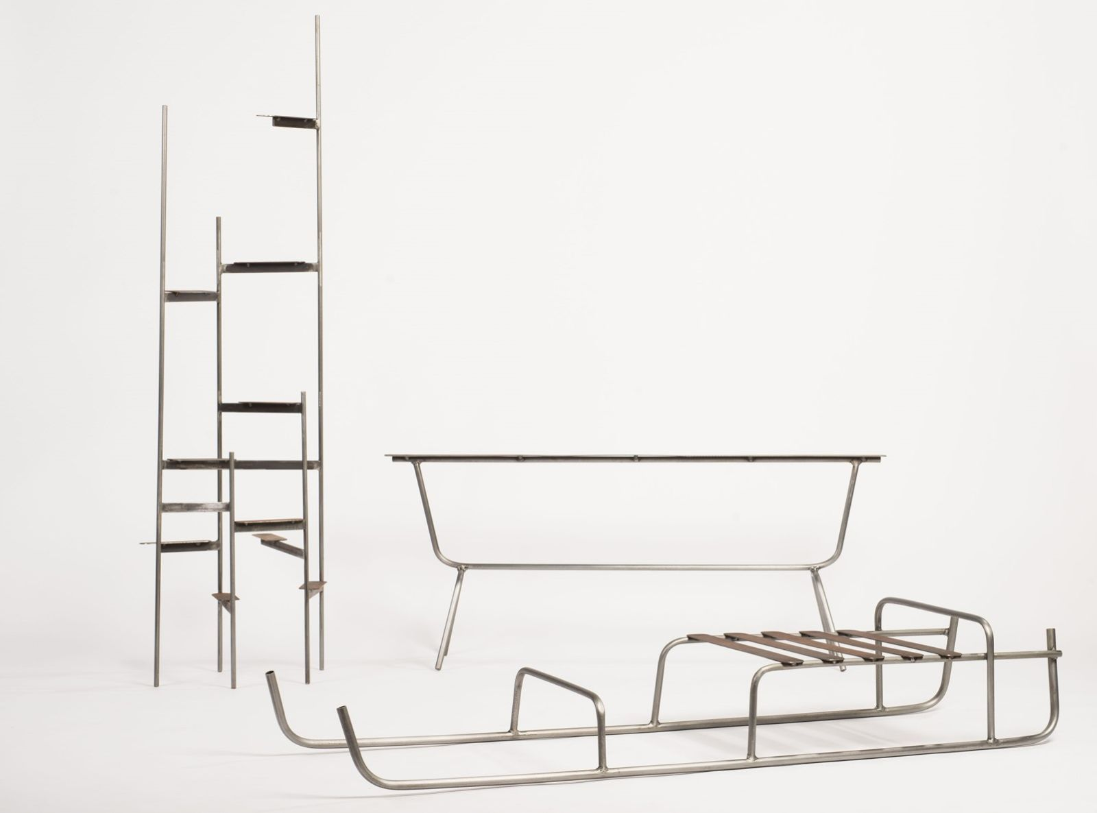 Neil Nenner's shelves, bench and sled. Photo by Shachar Fleischmann