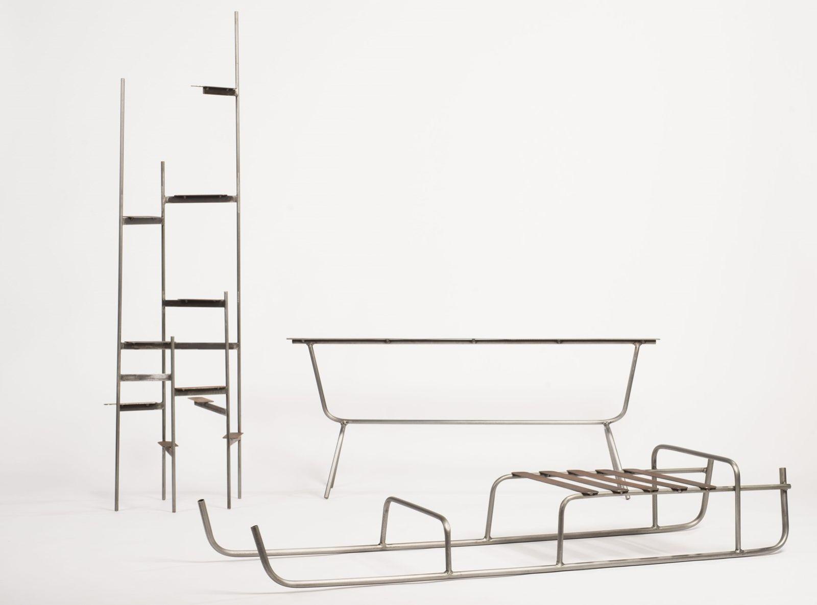 Neil Nenner's shelves, bench and sled. Photo by Shachar Fleischmann