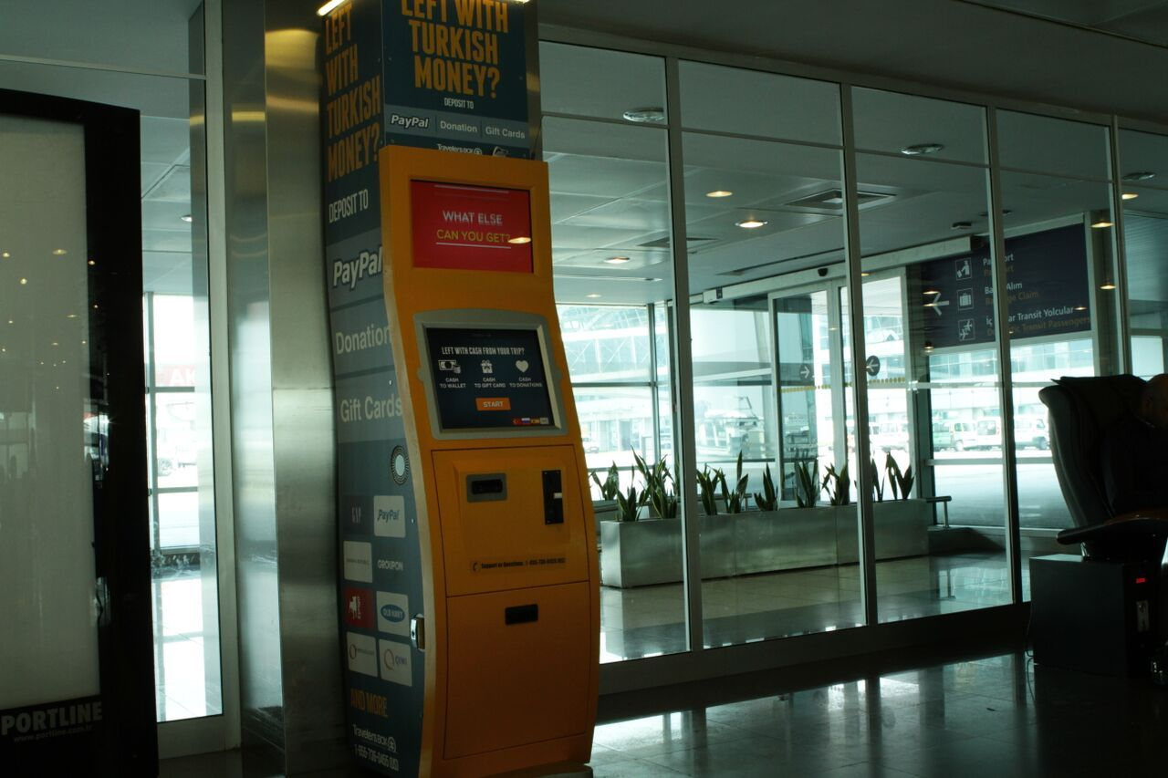 TravelersBox kiosks, like this one in Istanbul, offer the option of giving leftover cash to charities. Photo courtesy of TravelersBox