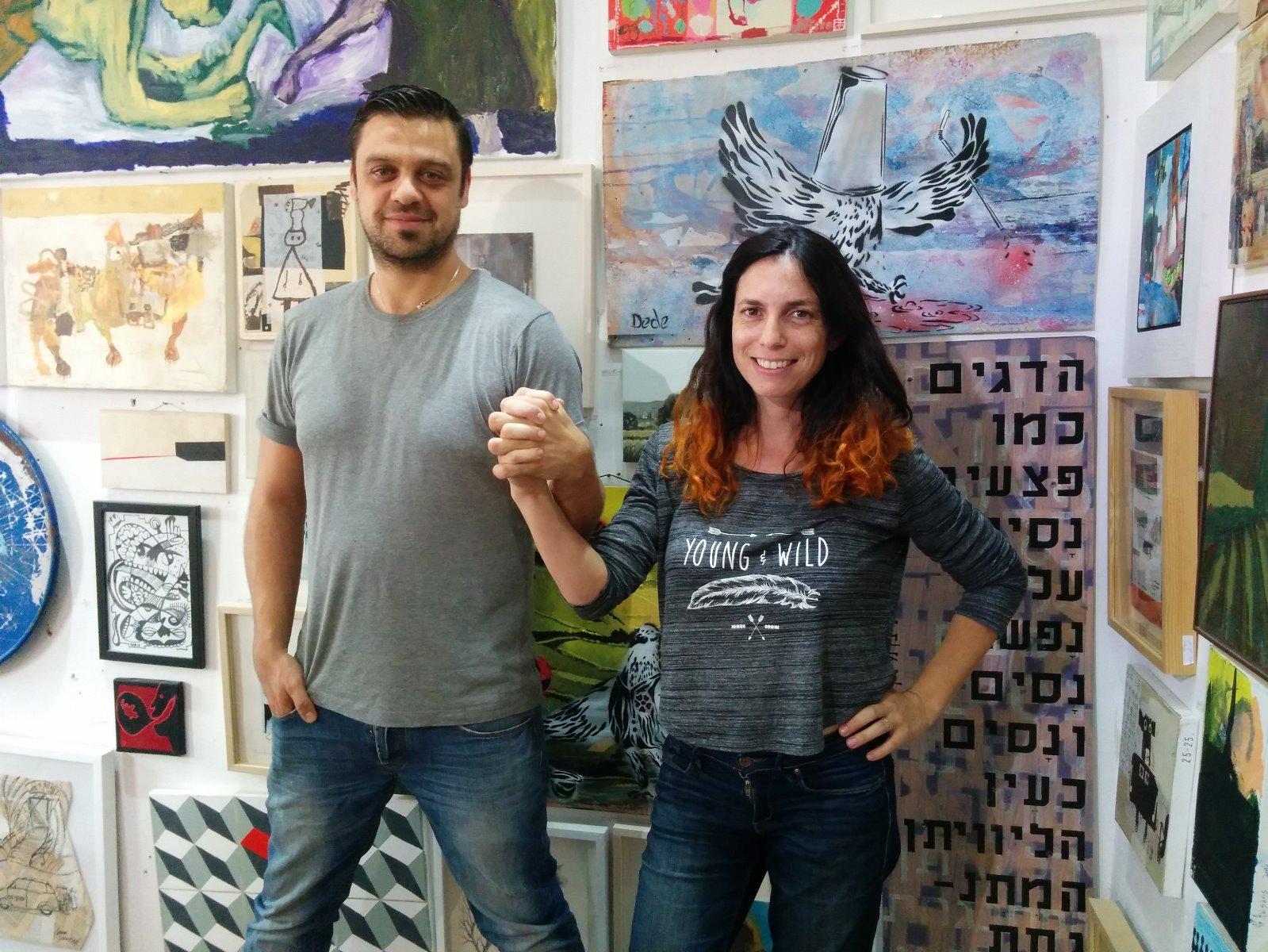 Under 1000 Gallery managers Niv Borenstein and Shira Gepstien Moshkovich. Photo by Abigail Klein Leichman