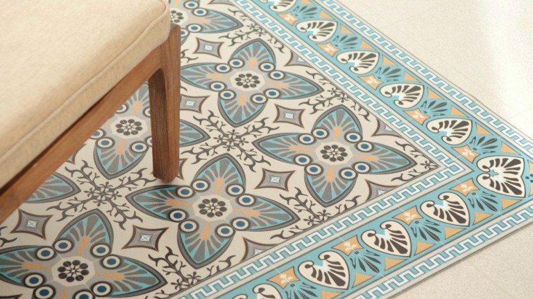 Vinyl mats are an affordable way to bring an ancient tile look into the home. Photo courtesy of Beija Flor