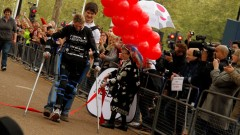 With the help of ReWalk, Claire Lomas crossed the finish line of the 2012 Virgin London Marathon. Photo via Wikipedia