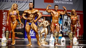 Dani Kaganovich, second from left, at the Hamburg 2015 Ms. & Mr. Universe contest. Photo via Facebook