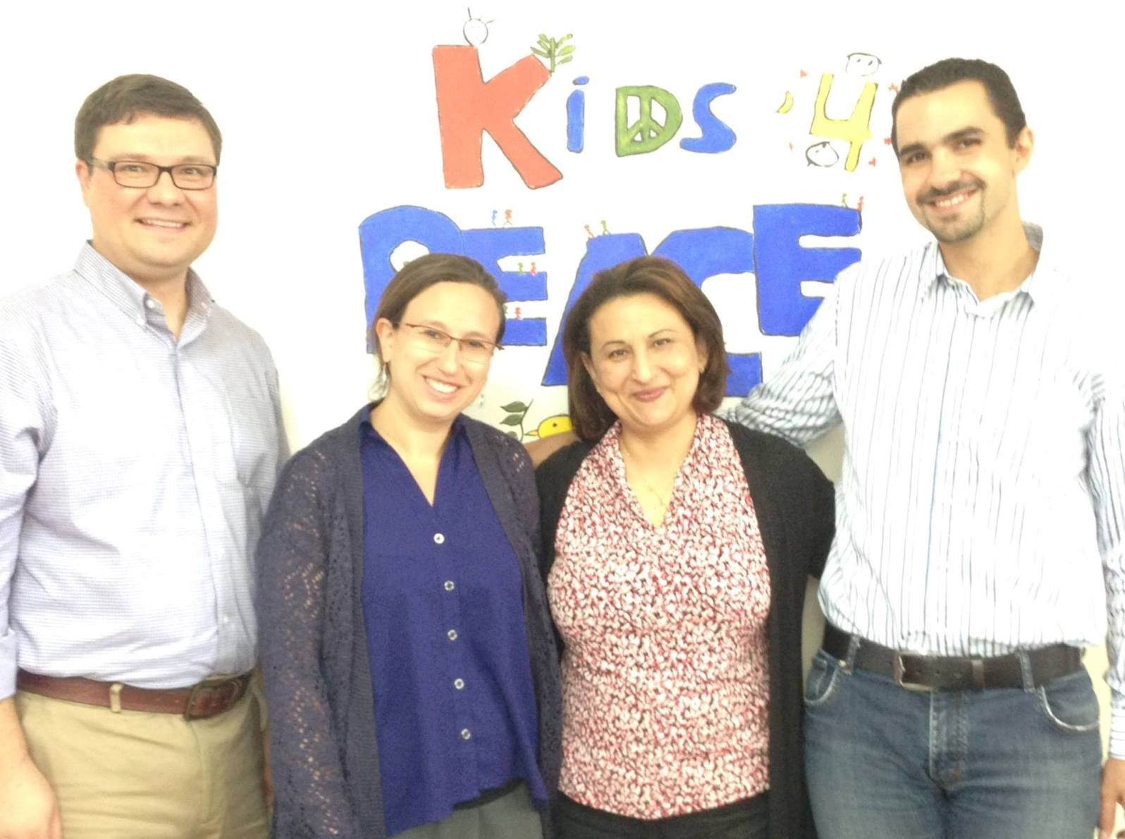 Kids4Peace Co-Directors Rebecca Sullum and Mohammad Joulany with Kids4Peace International Director Rev. Josh Thomas and Alliance for Middle East Peace Director Huda Abuarquob. Photo: courtesy
