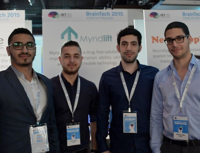 The Myndlift team, from left: CEO Aziz Kaddan, customer relations specialist Amr Khalaily, lead developer Hilal Diab and CTO Anas Abu Mukh. Photo: courtesy