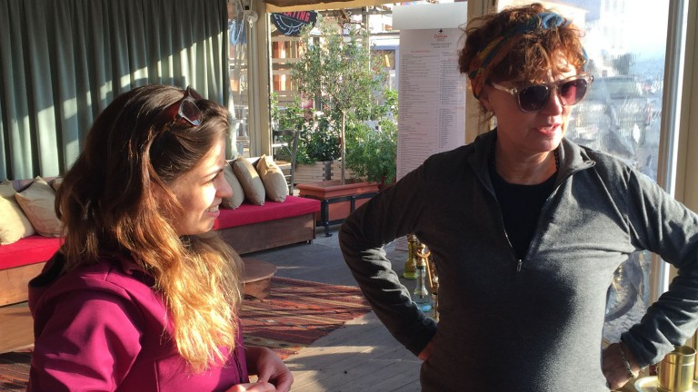 Susan Sarandon meets Israeli aid workers helping migrants on Greek island of Lesbos. Photo courtesy of IsraAID
