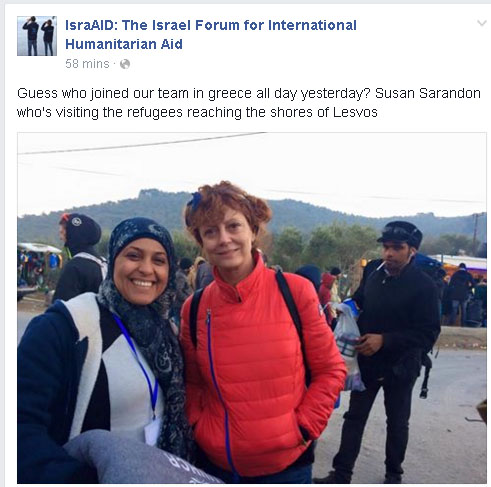 IsraAID posts photo with Susan Sarandon on its Facebook feed.