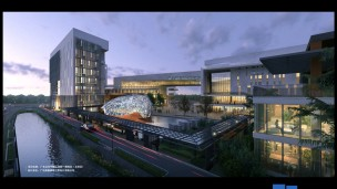 Architect's rendering of the institute to open in 2016. Image courtesy of Guangdong Nan Ya Construction Engineering Design and Mochly-Eldar Architects