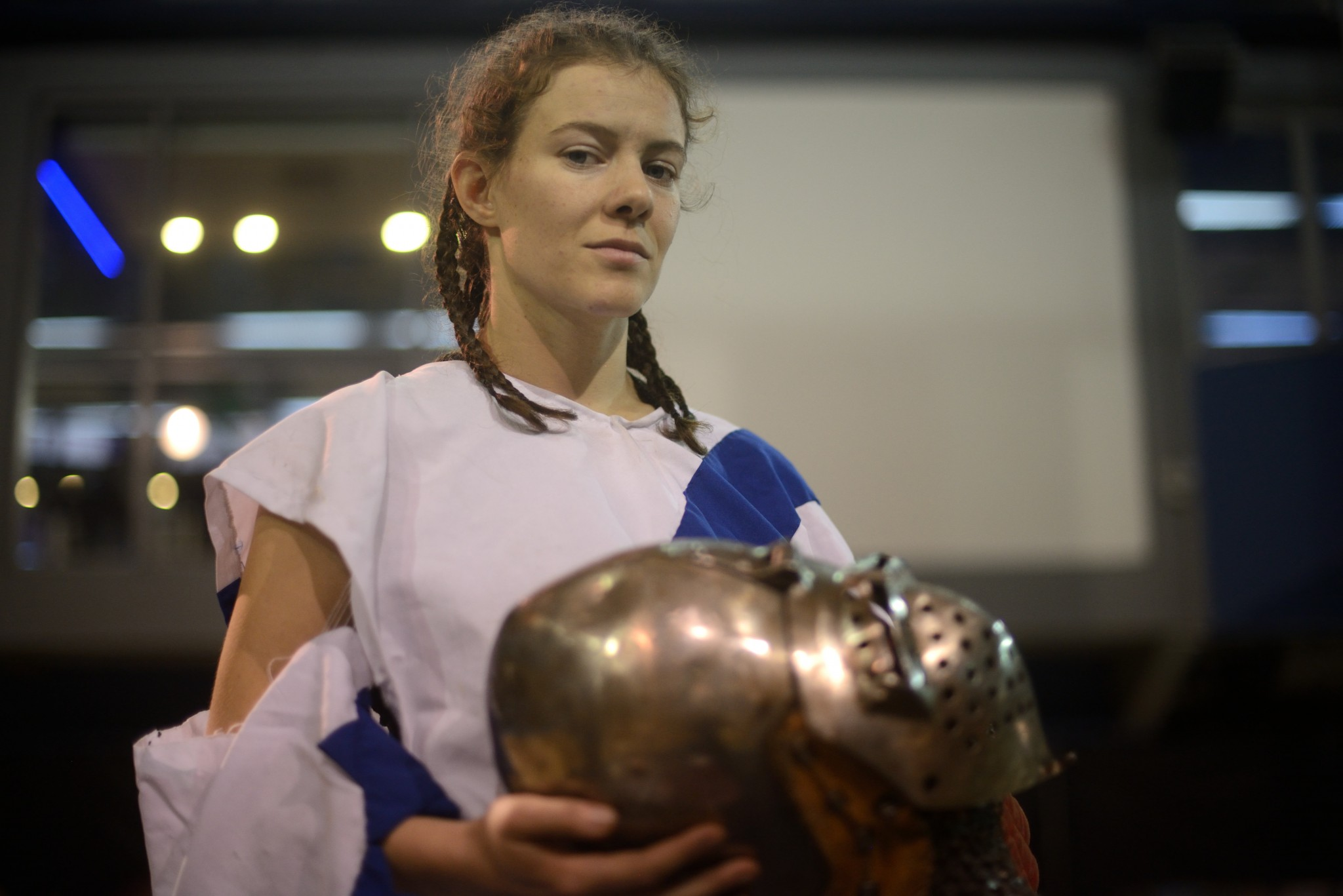 """A female warrior in """"Crossfit for Camelot."""" Photo by Gili Yaari/FLASH90"""