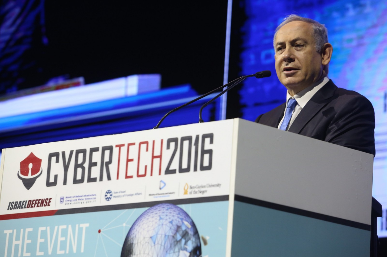 Prime Minister Netanyahu addresses Cybertech 2016. Photo by Gilad Kavalerchik