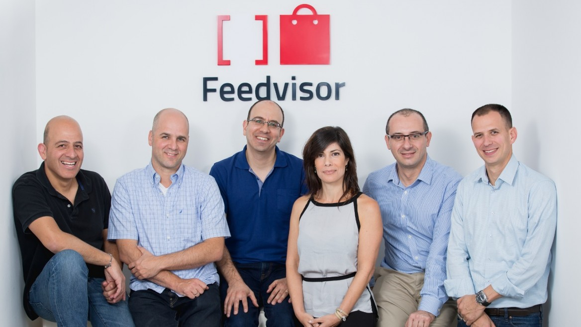 The Feedvisor team in Tel Aviv. Victor Rosenman is second from right. Photo by Tomer Foltyn