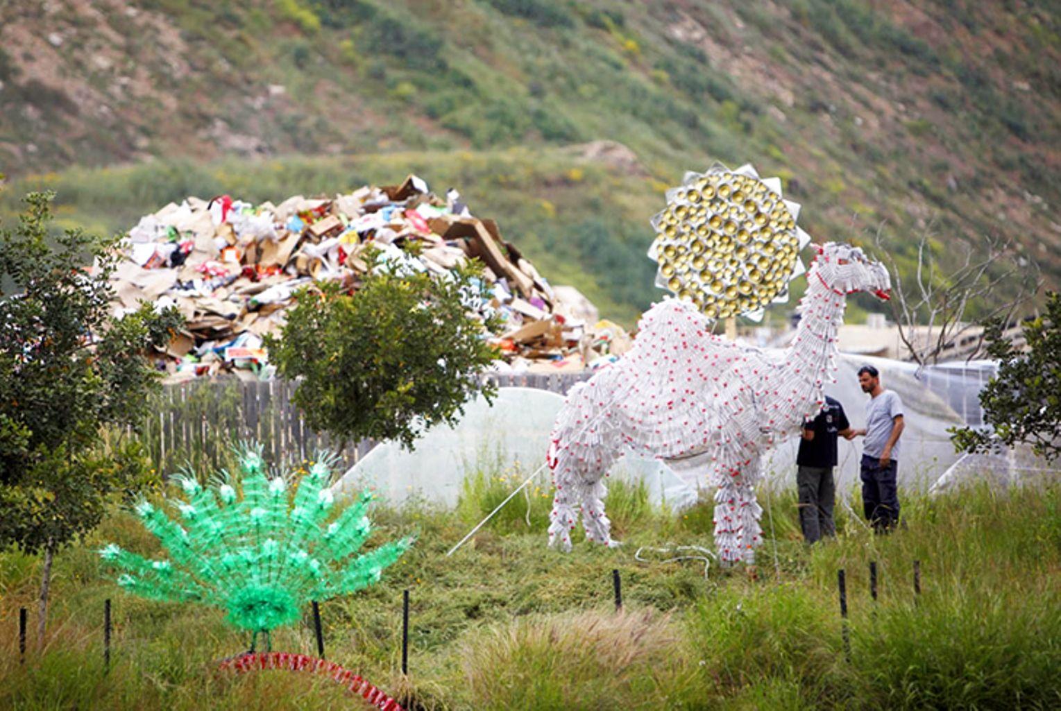Environmental sculptures made from trash at Hiriya. Photo via Inhabitat.com