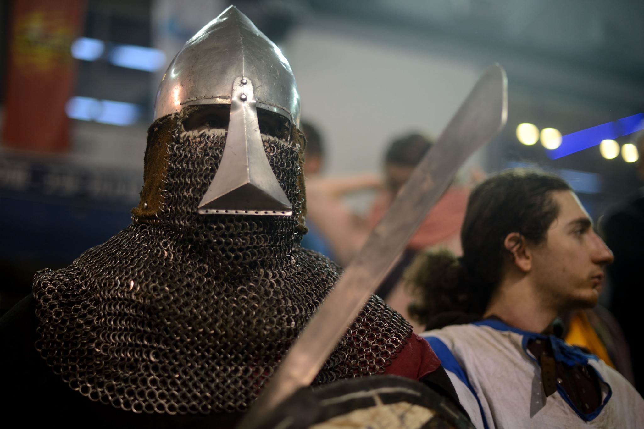 Medieval Fighting fighters ready to go into the arena in the World Medieval Fighting Championship WMFC-Israeli challenge on Jan. 23, 2016. Photo by Gili Yaari/FLASH90