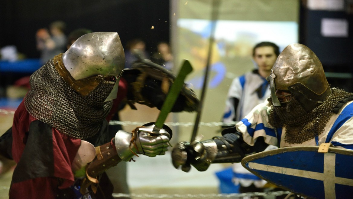 Participants from around the world brought their 14th century-style garb, weapons and armor to Tel Aviv to take part in the World Medieval Fighting Championship-Israeli challenge in Tel Aviv, Jan. 23, 2016. Photo by Gili Yaari/FLASH90